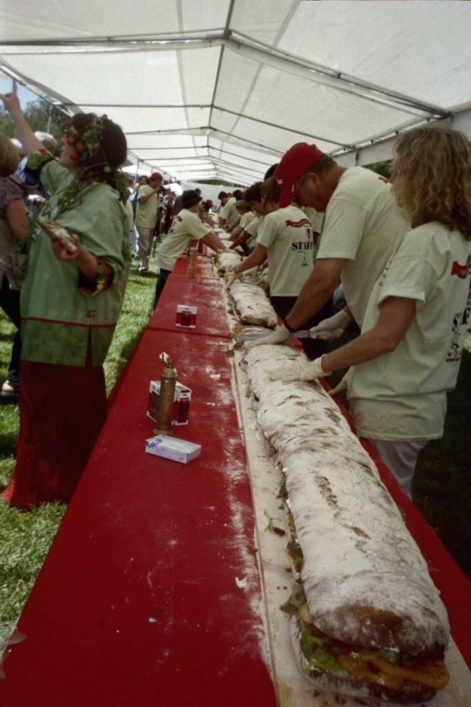 The World's Biggest BLT, ready to cut