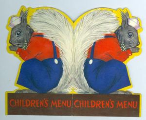 Separate children's menus, die-cut and typically adorned with animal drawings, were common in the US in the 1900s.